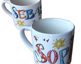 Small children Cup mt Name, RosiRosinchen