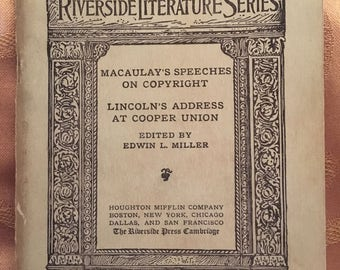 Vintage Book From the Riverside Literature Series #221, Copyright 1913 Titled Macaulay's Speeches And Lincoln's Address at Cooper Valley.