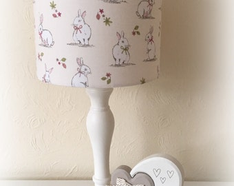 Lampshade Handmade Cream Bunny Rabbit Fabric 20cm 30cm Drum Nursery