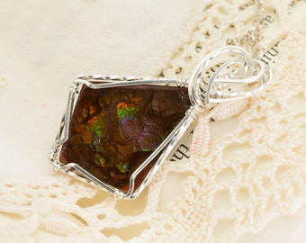 Mexican Fire Agate Sterling Silver Pendant 6.2ct (MAL128-1P)