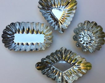 Sale Swedish Cookie Tart Pastry Tins Set of 4 Heart Oval Diamond Bundt Design Vintage Like new