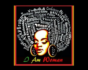 Womens I AM WOMAN Black Fitted Crew Neck T-shirt | Afro Tees