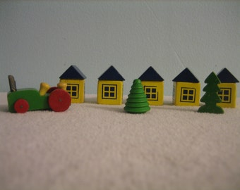 Vintage MINI-BLOCK HOUSES with Two Trees and Tractor