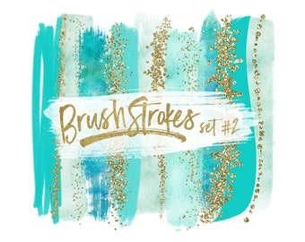 Gold Brush Strokes Clipart / Teal Brush Strokes Clip Art / Teal Watercolor Brush Strokes / Gold Glitter Clipart / Turquoise and Gold Clipart