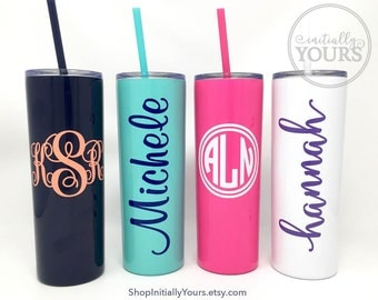 Personalized Skinny Stainless Steel Tumbler, 20oz Monogram Stainless Steel Cup, Powder Coated Cup, Personalized Gift Idea, Monogrammed Cup