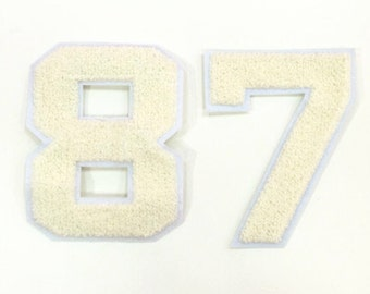 Number 87 applique embroidered number sew on patch