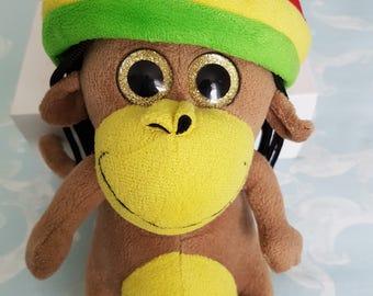 Vintage plushy toy, childs soft toy, Rasta monkey toy, stuffed animal toy, childs toy, plushies, monkey plushy, Rastafarian toy, 1970s