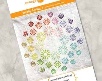 "Printed quilt pattern - ""Totally Spring"" - gorgeous, modern and colorful quilt, raw edge fusible appliqué - 60"" x 60"""