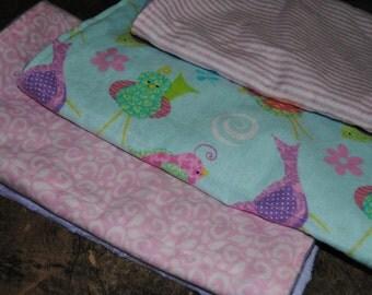 Baby Burp Cloths - Set of 3 Matching Girl Minky Burp Cloths