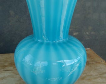 Mid Century Modern Vintage Empoli Cased Glass Italian Murano Blue Opalescent Venetian Art Glass Vase With Peking Blue Vertical Rib Stripes