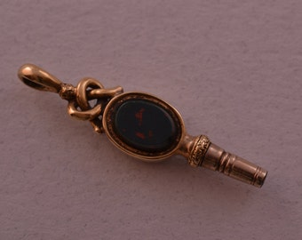Gold Cased Victorian Watch Key With Bloodstone (276w)