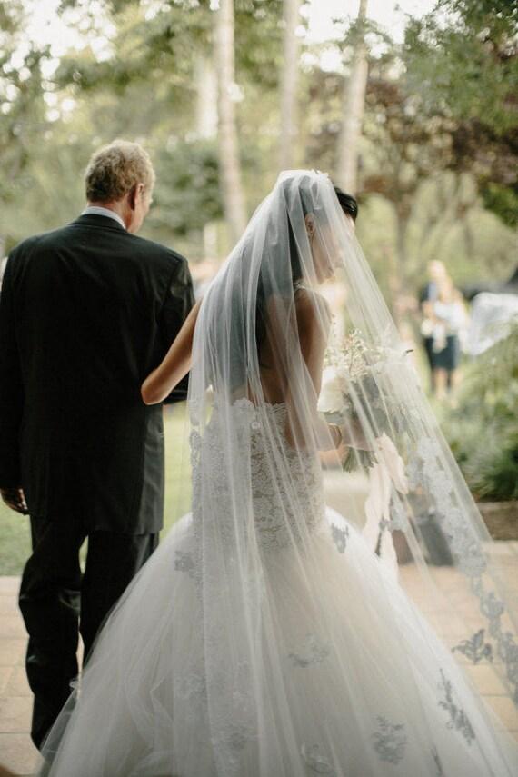 Lace Wedding Veil, Alencon Lace Veil, Applique Veil, Cathedral Veil, Lace Bridal Veil, Cathedral Veil - BRIANNA VEIL