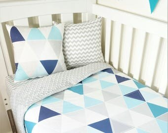 Aqua, turquoise, navy triangle, geometric nursery items