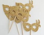 Masquerade Mask Cupcake Toppers - Gold -  Cupcake Topper- Masquerade #2026