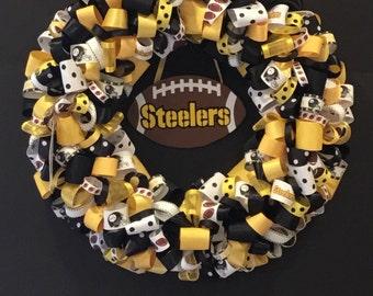 Pittsburgh Steelers Inspired Ribbon Wreath