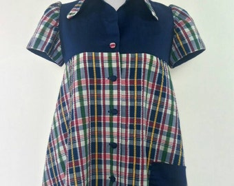 Vintage Maternity Top 60s Blouse Tartan house clothing