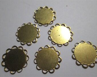 6 Brass Round Cabochon Settings