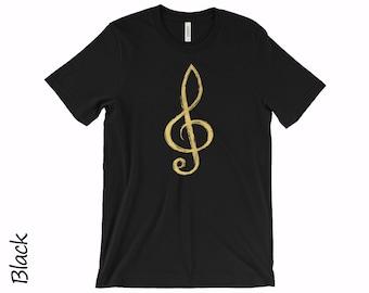 Treble Clef Tshirt Music Tshirt Unisex T-shirts Mens T-shirt Womens T-shirt Music Gold Clef T-shirt  Cotton T-shirt Gold Logo Tshirt