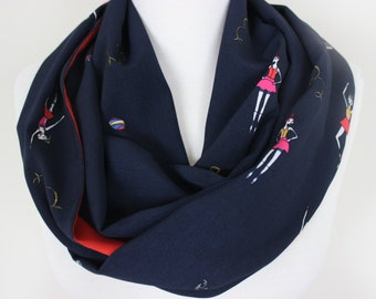 Ballet Dancer Scarf, Ballerina Scarf, Ballet, Dancer Scarf, Girl Print Scarf, Women Accessory, Fashion Scarf, Red Navy Blue Printed Scarves