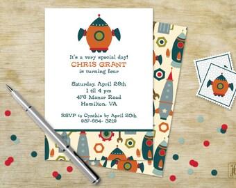 Orange Spaceship Birthday Invitation | Orange Spaceship Printable Invitation | Digital Invitation | Printable .PDF
