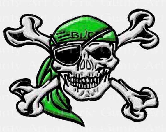 Green Pirate Skull Mascot Birthday - Edible Cake and Cupcake Topper For Birthday's and Parties! - D22482