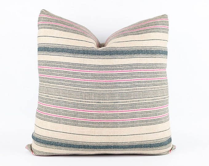 Indigo And Pink Linen Hmong Tribal Textile Pillow Cover 20x20