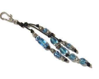 Bag Charm - Purse Charm - Zipper Pull - Keychain Charm - Boho Charm - Boho Bag Charm - Beaded Bag Charm - Bag Clip - Blue Bag Clip - Blue