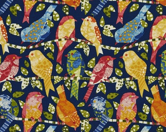 Blue Red and Green Contemporary Various Birds Indoor Outdoor Upholstery Fabric By The Yard | Pattern # A272