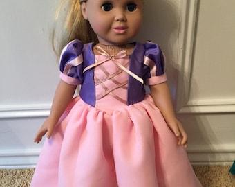 Rapunzel dress for 18 inch doll