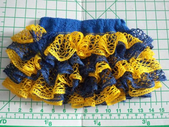 Baby or toddler ruffled skirt..blue & gold...Show your team spirit!