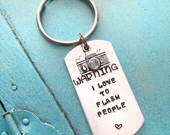 Photographer Keychain, Hand Stamped Camera Keyring, Photography Gift For Her, Gift For Him, Funny Keychain, Wedding Photographer Gift