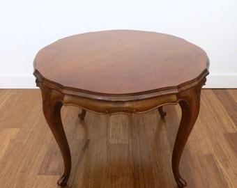 Vintage Italian Round Coffee Table, Italian Provincial Molinari Wood Side Table,  Hollywood Regency, Small Coffee Table