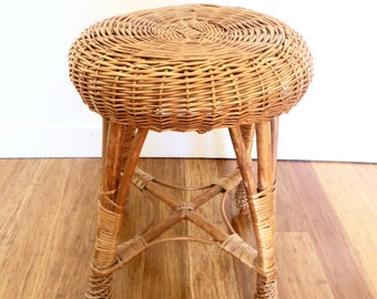 Wicker Rattan Woven Round Stool, Plant Stand, Table, Mid Century, Franco Albini Style, Bohemian Home
