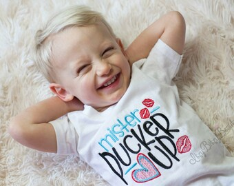 Mr. Pucker Up Embroidered Boys Shirt Valentines Day Red Blue