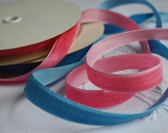 Yard of Vintage Velvet Ribbon Blue or Pink