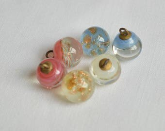 3/8th inch vintage Czech glass paperweight button, blue, pink or white with mica gold flecks, 10mm