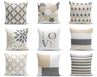 Neutral accent pillows, Pillow Covers, Neutral Decor, Love, Floral, Trellis, Grey Beige, Sand White, Mix and Match, Throw Pillow Covers