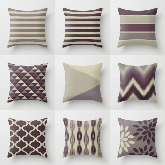 Throw Pillow Covers Plum Purple Grey Couch Cushion Cover