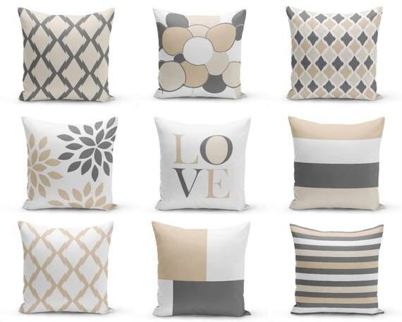 Neutral accent pillows pillow covers neutral decor love for Housse de coussin 65x65
