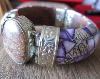 """Vintage Purple Dyed Stone Mosaic Bangle Bracelet 8.5"""" (1653)"""