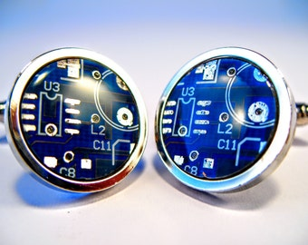 Circuit Board Cufflinks, Blue, Round, Geek Jewelry, Men's Gift, Computer Chip, Electronic, PCB, Accessory, Eco, Recycled, Motherboard.