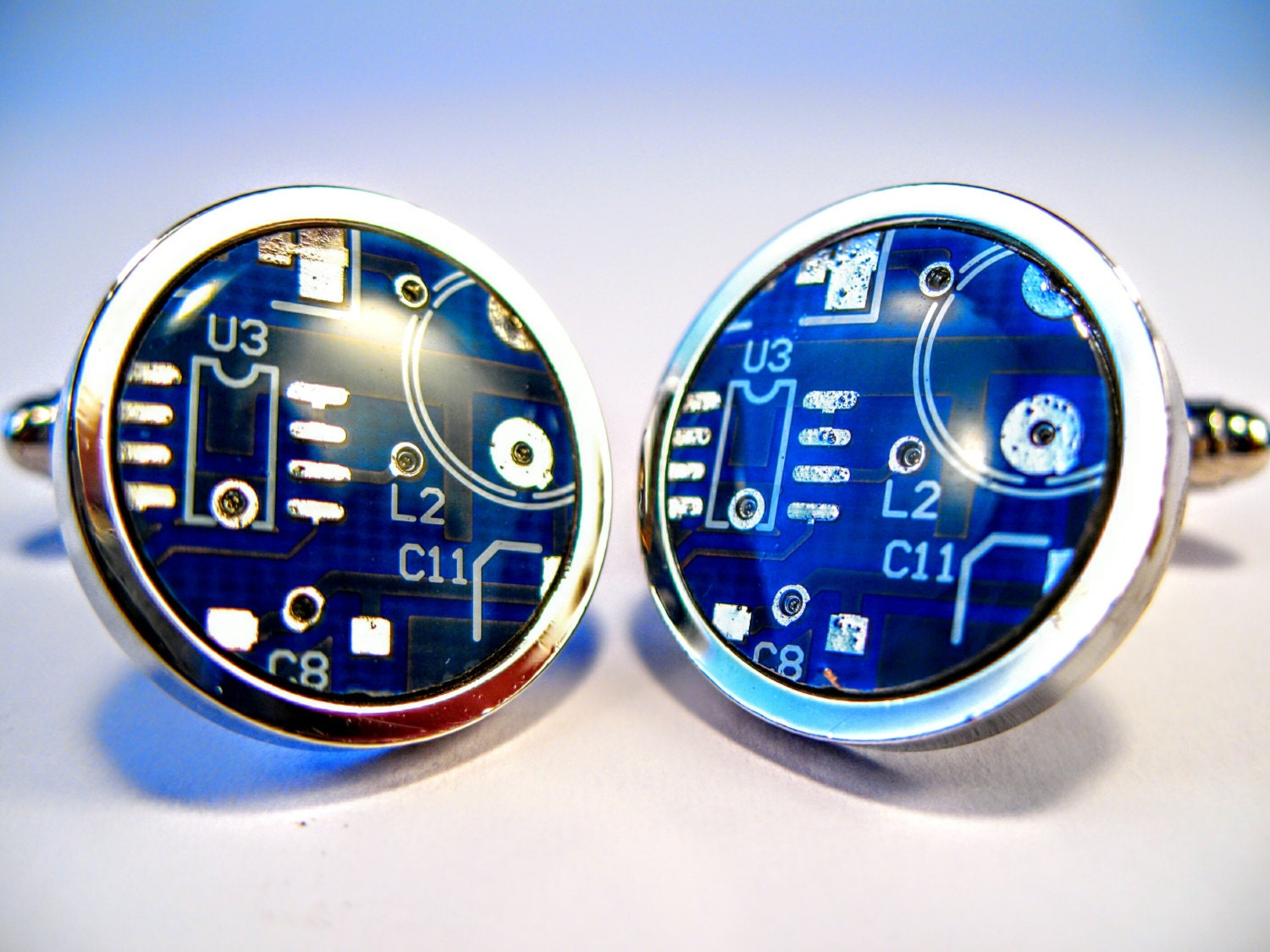 Circuit Board Cufflinks Blue Round Geek Jewelry Mens Gift Computer Chip