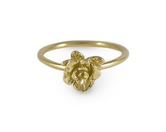 Mini Rose Ring, 14k Gold Ring, Rose Ring, Solid Gold Ring, Gold Flower Ring, Handmade