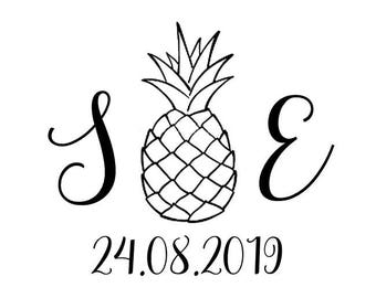 Pineapple Initials and Date Stamp, personalised initials and date stamp, wedding favours, wedding stationery, tropical wedding, (cts176)