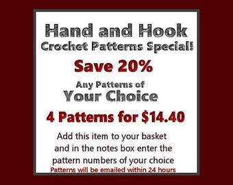 Buy Four Crochet Patterns And Save - Your Choice Of Any Four Crochet Patterns