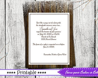 Wedding announcement - Wedding announcement card - wedding card - announcement - wedding printable - Digital printable