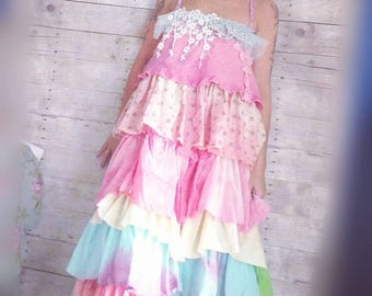 Pink Sunshine Shabby sherbet layered lace prairie gypsy floral ruffle rustic Boho dress