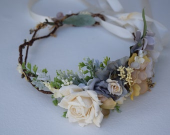 Gray, Ivory & Beige Flower Crown - Gray Flower Girl Crown - Photo Prop - Bridal Flower Crown- Gray Hair Wreath - Gray Baby Flower Crown
