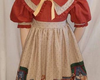 "Size 6 Daisy Kingdom ""Toy Box"" print dress. Ruffled hat included"