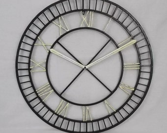 "24"" Diameter Faux Round Clock Hand Painted Black White Distressed Wall Sculpture Hanging"